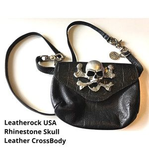 Leatherock Skull CrossBody Bag Rhinestone Leather