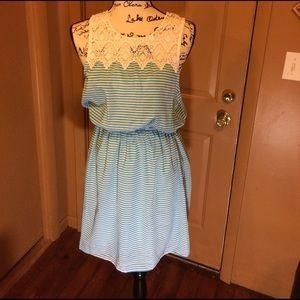 Everly Dresses & Skirts - Everly Aqua/white stripe Anthropologie dress med