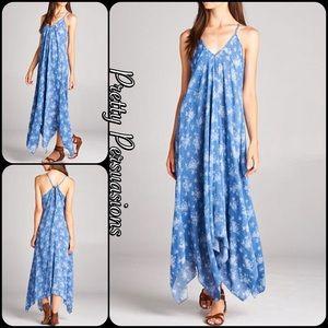 Pretty Persuasions Dresses & Skirts - SALE 🎉NWT Blue Printed Handkerchief Maxi Dress