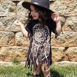 Other - Boutique Toddler Dream Catcher Black Fringe Dress