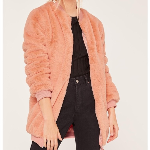 b5b4482137a9 Missguided Jackets & Coats | Pink Longline Faux Fur Bomber Jacket ...