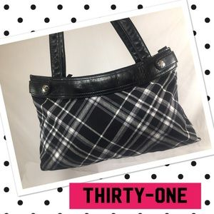 thirty-one Handbags - THIRTY-ONE Black and White Plaid Handbag