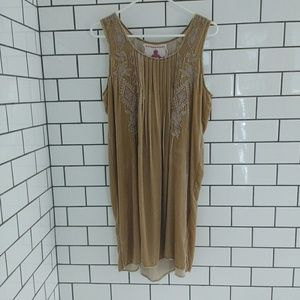 NWTJohnny Was gold velvet embroidered dress size M