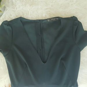 Zara Pants - ZARA dark green romper shorts