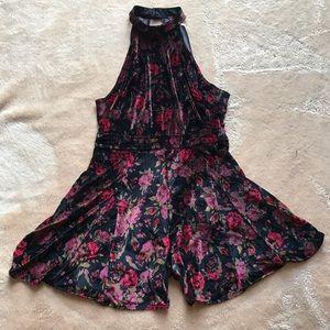 Free People Dresses & Skirts - Free People Black And Wine velvet Floral  Dress