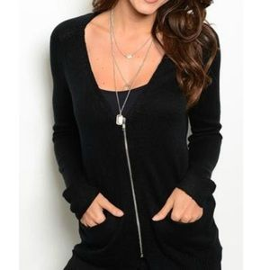 Sweaters - Bajee Collection Black Zippered Cardigan