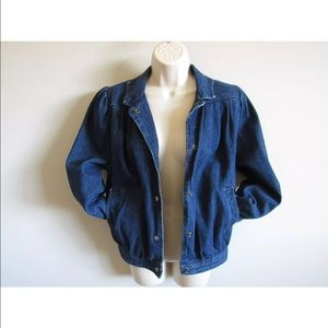Womens Vintage Jean Denim Bomber Jacket Size S