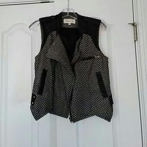 Black/White Herringbone vest