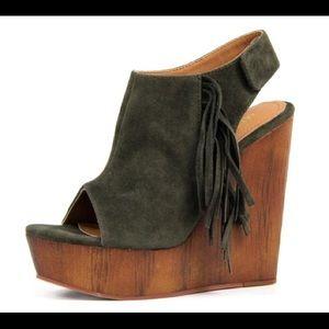 shoeroom21 boutique Shoes - Ladies wedge sandal with side fringe. Olive. NIB