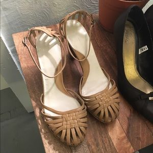 Adorable Strappy Nude Heels, size 8.5
