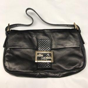 Fendi Handbags - Fendi Classic Leather Baguette Python Shoulder Bag