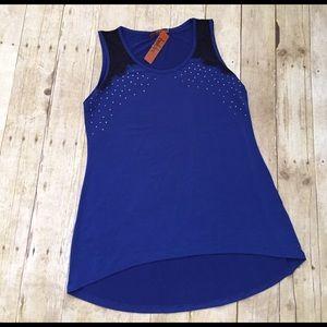 Belldini Tops - 🎉HP🎉Belldini royal blue/black lace top NWT Med