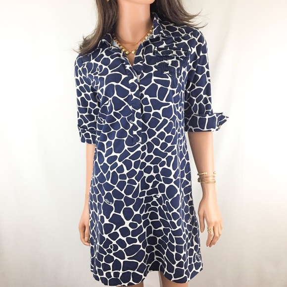 176d8afce6f Lilly Pulitzer Dresses   Skirts - Lilly Pulitzer Giraffe Print Navy Shirt  Dress
