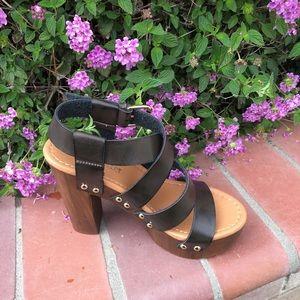 shoeroom21 boutique Shoes - Ladies wood heels straps ankle buckle sandals book