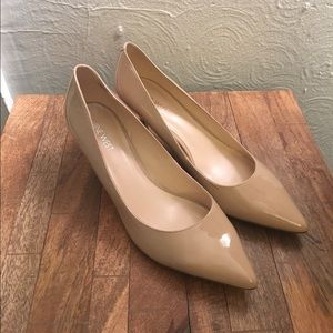 Nine West Nude Patent Pointed Pumps, size 8.5