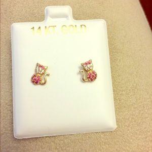 Other - Girl 14kt Gold Earrings NEW