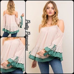 Pretty Persuasions Tops - Blush Green Ruffled Bell Sleeve Cold Shoulder Top