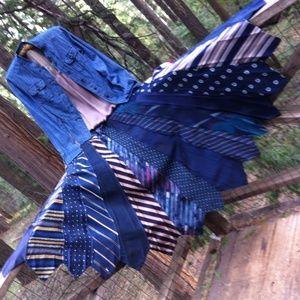 kreativekristen Dresses & Skirts - HP ,Up cycle tie skirt in navy blues