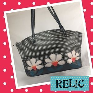 Relic Handbags - RELIC Black Floral and Dots Shoulder Bag