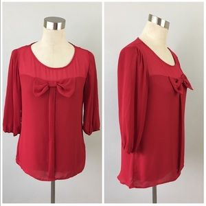 HeartSoul Tops - NWOT Red Bow Oversize Blouse