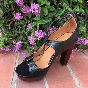 shoeroom21 boutique Shoes - Ladies peep toe wood heels shoes. Black. NIB