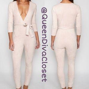 Pants - Dusty rose light pink nude suede wrap jumpsuit