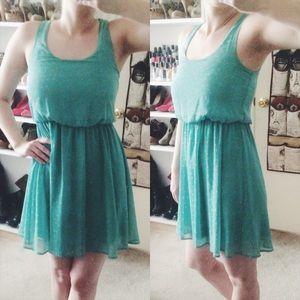 Lush Dresses & Skirts - • Lush • Light Blue/Green Dress w/ Polka Dots
