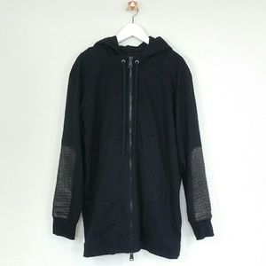 Drifter Other - DRIFTER black hoodie with leather patch elbow