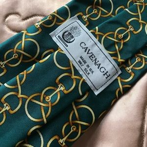 Vintage Accessories - Irish Wedding Silk Green Link Print Horse Knot Tie