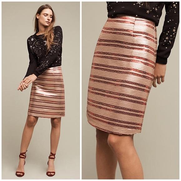 0b6bf6b4cd XS Anthro Sequin-Striped Pencil Skirt