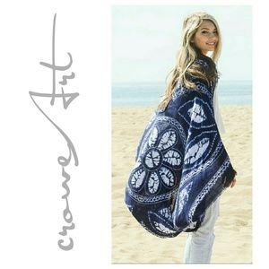 Boutique  Accessories - Navy Henna Tie Dye Mandala Kimono