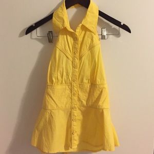 Strapless Yellow Collar Tank Top Small