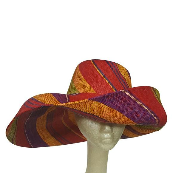 d826251245b63 Multi Colored Madagascar Big Brim Raffia Sun Hat