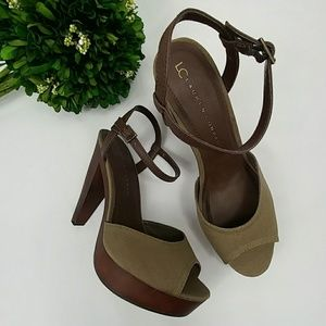 LC Lauren Conrad Shoes - Lauren Conrad platform peep toe heels olive green