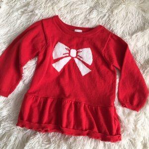 Red bow peplum sweater
