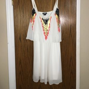 White sheer aztec dress