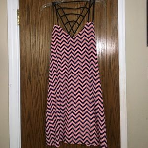 Navy and pink zig zag dress