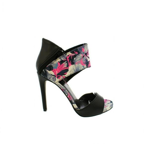 Open Toe Floral Heels