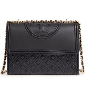 Tory Burch Fleming Black Convertible Shoulder Bag