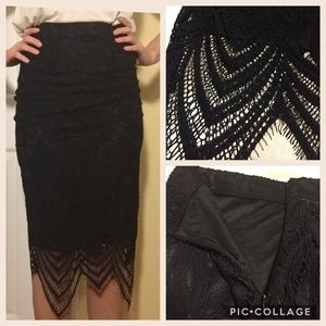 Material Girl Dresses & Skirts - NEW WITH TAGS BLACK LACE MATERIAL GIRL SKIRT
