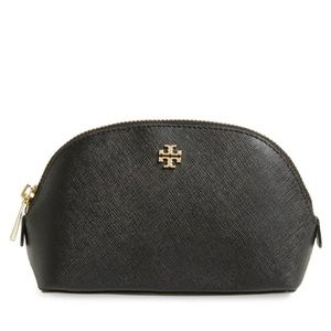 Tory Burch Robinson Black Leather Cosmetic Case