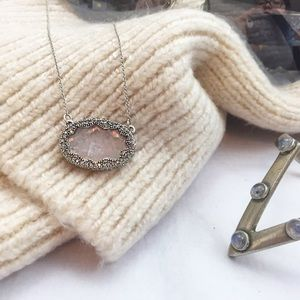 House of Harlow 1960 Jewelry - Silver Rose Quartz Pendant Necklace