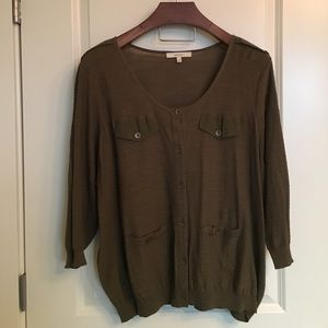 Sejour Sweaters - Olive Green Sweater with Military Details