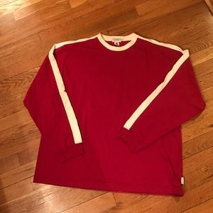 J. Crew Other - 🔴J. Crew Red Long Sleeved Shirt Striped Sleeve