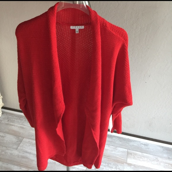 Chaus Bright Red Long-sleeve Sweater Coat.1787 78997b42a