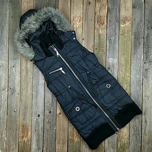Big Chill Jackets & Blazers - Big Chill Long Quilted Vest with Fur Trimmed Hood