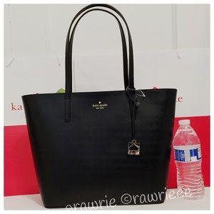 SALE New Kate Spade black leather zip top tote