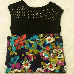 FREE PEOPLE GOLD GEM AND FLORAL DRESS