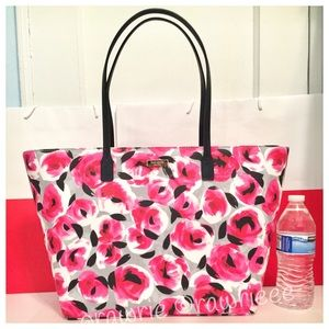 New Kate Spade roses large floral travel zip tote