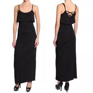 fairlygirly Dresses & Skirts - Strappy Cross Back Overlay Jersey Maxi Dress